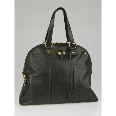 Yves Saint Laurent Dark Olive Leather Oversized Muse Bag