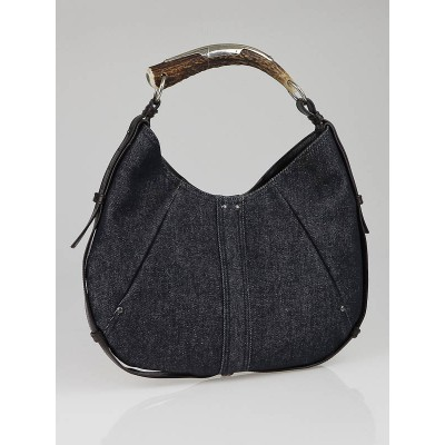 Yves Saint Laurent Dark Blue Denim Mombasa Horn Bag