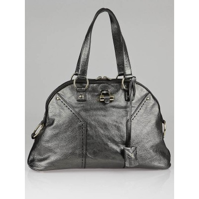 Yves Saint Laurent Gunmetal Metallic Leather Large Muse Bag