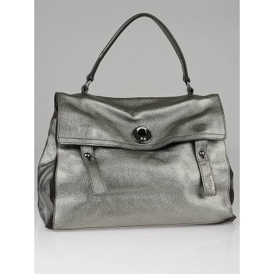 Yves Saint Laurent Silver Metallic Leather and Suede Large Muse Two Bag