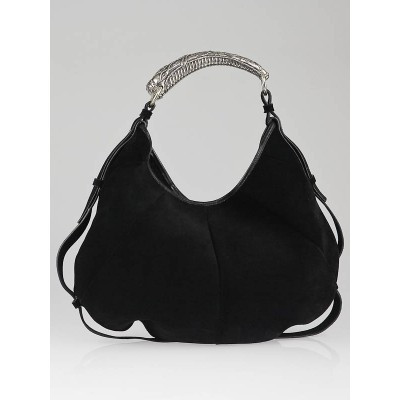 Yves Saint Laurent Black Suede Mombasa Horn Bag