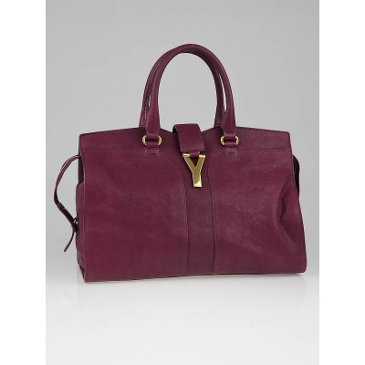 Yves Saint Laurent Purple Leather Medium Cabas Chyc Tote Bag