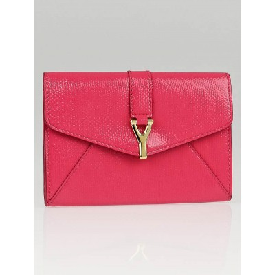 Yves Saint Laurent Bubblegum Textured Patent Leather 'Ycon' Card Case