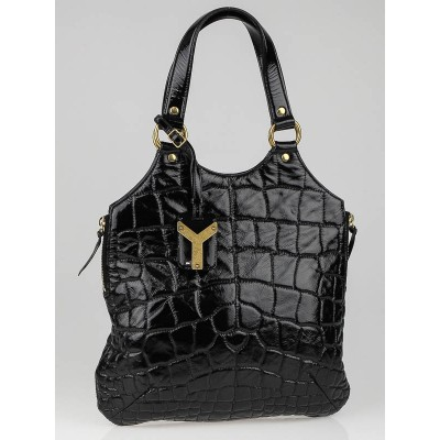 Yves Saint Laurent Black Croc Embossed Patent Leather Tribute Tote Bag