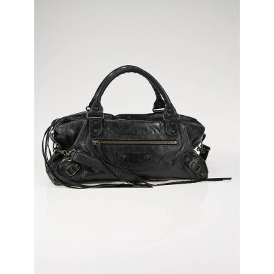 Balenciaga Black Chevre Leather Twiggy Motorcycle Bag