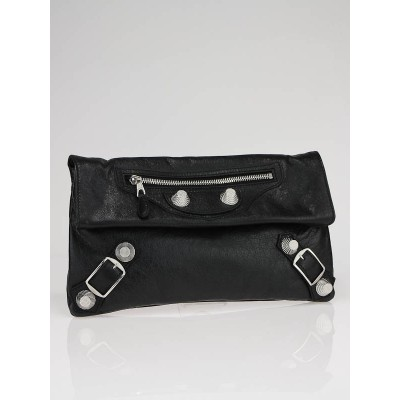 Balenciaga Black Lambskin Leather Arena Giant Envelope Clutch Bag