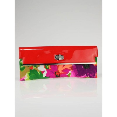 Balenciaga Floral Satin and Patent Leather Clutch Bag