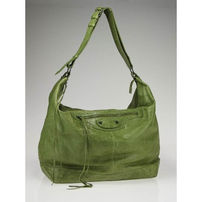 Balenciaga Light Olive Lambskin Leather Courrier Arena Bag