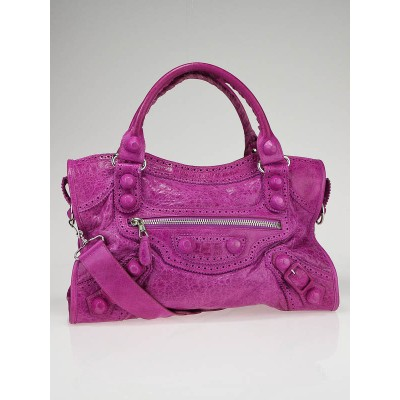 Balenciaga Amethyst Lambskin Leather Covered Giant City Bag