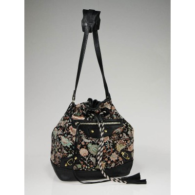 Balenciaga Limited Edition Flower Print Fabric Pompon Bag