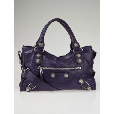 Balenciaga Eggplant Chevre Leather Giant City Bag