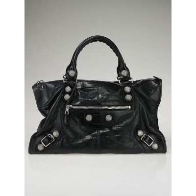 Balenciaga Black Lambskin Leather Giant Work Bag