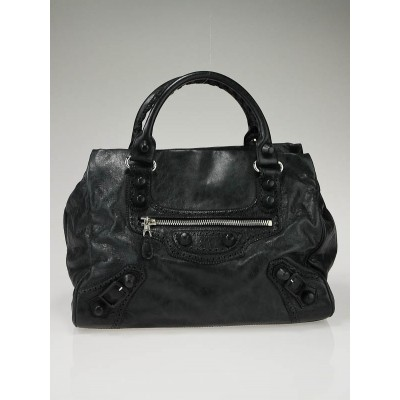 Balenciaga Black Lambskin Giant Covered Midday Bag
