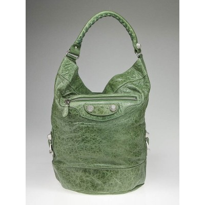 Balenciaga Vert Thyme Lambskin Leather Balhand Giant Bucket Bag