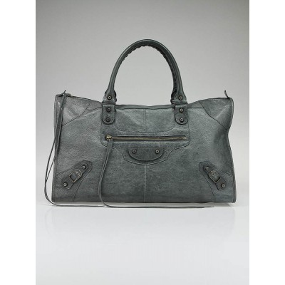 Balenciaga Anthracite Distressed Lambskin Leather Work Bag