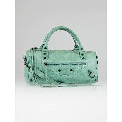 Balenciaga Turquoise Chevre Leather Twiggy Motorcycle Bag