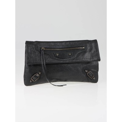 Balenciaga Black Lambskin Leather Classic Envelope Clutch Bag