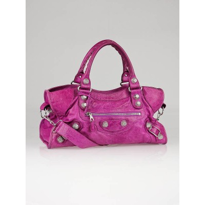 Balenciaga Amethyst Lambskin Leather Giant 21 GSH Part-Time Bag