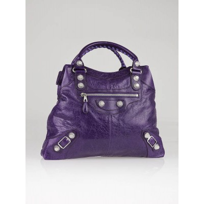 Balenciaga Violet Lambskin Leather Giant Silver GSH Brief Bag