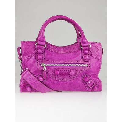 Balenciaga Amethyst Lambskin Leather Giant Brogues Covered Motorcycle City Bag