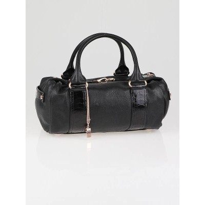 Balenciaga Black Lambskin Rose Gold with Ostrich Leg Trim Whistle Satchel Bag