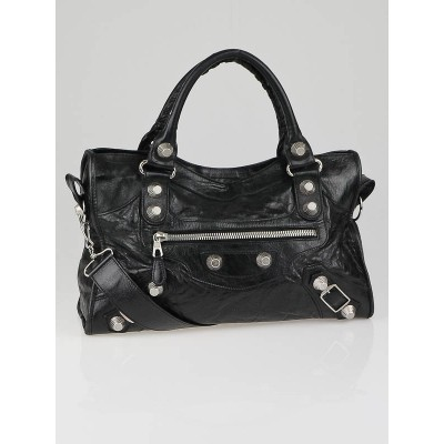 Balenciaga Black Leather Giant Silver Motorcycle City Bag