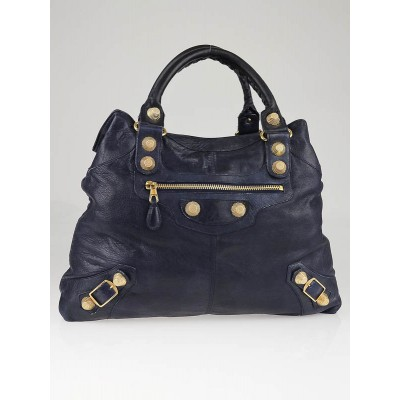 Balenciaga Marine Chevre Leather Giant Gold Brief Bag