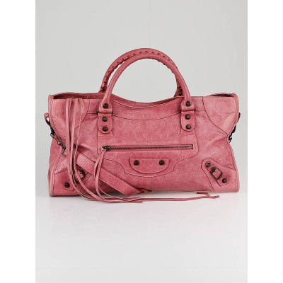 Balenciaga Framboise Lambskin Leather Part Time Bag