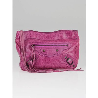 Balenciaga Magenta Lambskin Leather Trouse Maquillage Clutch Bag