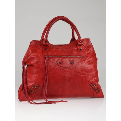 Balenciaga Tomato Red Leather Brief Tote Bag