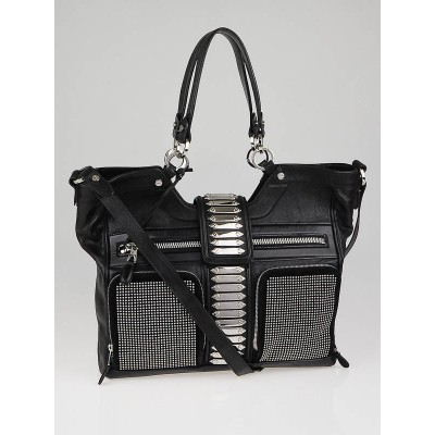 Balenciaga Black Leather Studded Sac Clous Motorcycle Bag