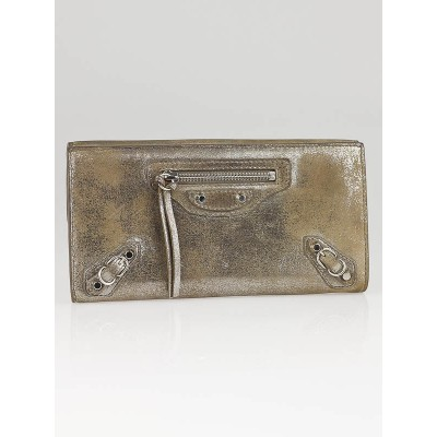 Balenciaga Beige Milkyway Leather Papier Continental Wallet