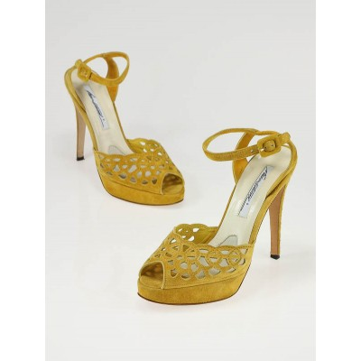 Brian Atwood Yellow Suede Perforated Platform Harlow Sandals Size 6.5/37