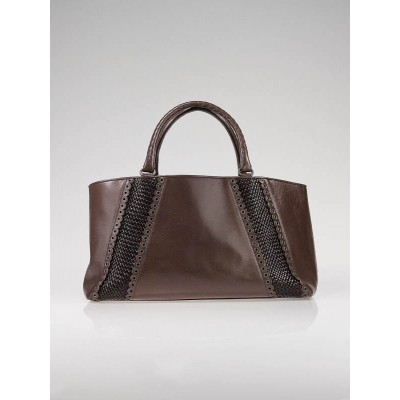 Bottega Veneta Brown Leather Grommet Rugiada Shopper Tote Bag