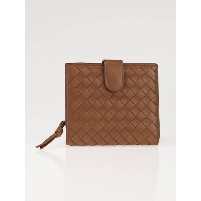 Bottega Veneta Noce Woven Leather Compact French Purse Wallet