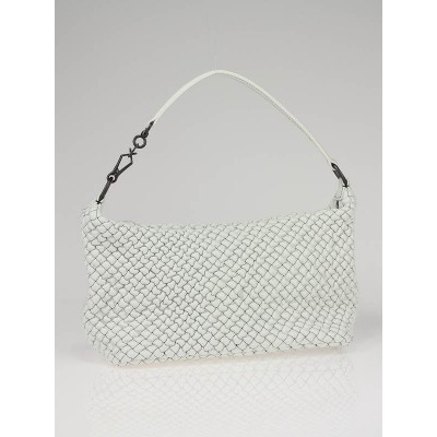 Bottega Veneta White Quilted Bubble Leather Small Shoulder Bag