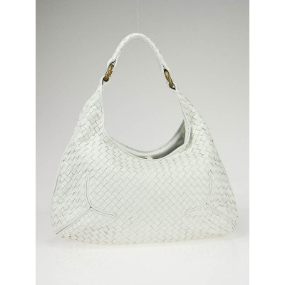 Bottega Veneta White Woven Leather Ball Hobo Bag