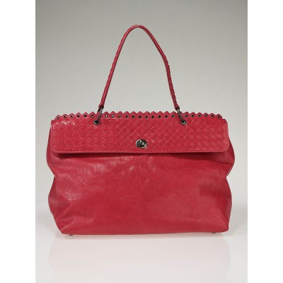 Bottega Veneta Fuchsia Pink Woven Leather Tiina Bag