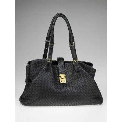 Bottega Veneta Iron Woven Nappa Leather Roma Bag
