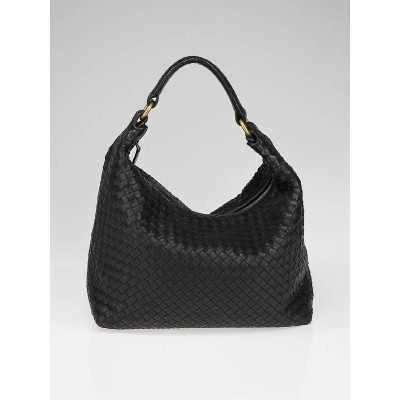 Bottega Veneta Navy Blue Interacciato Woven Leather Hobo Bag