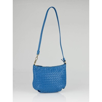 Bottega Veneta Delft Blue Intrecciato Nappa Mini Shoulder Bag