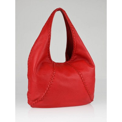 Bottega Veneta Red Cervo Leather Hobo Bag