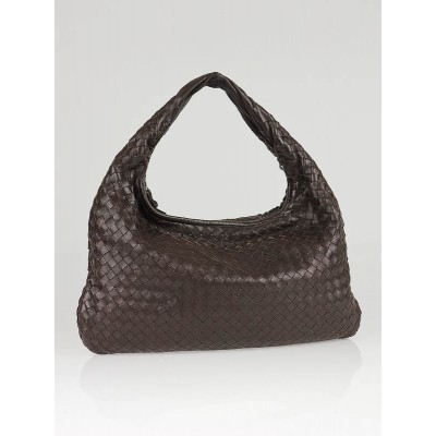 Bottega Veneta Dark Brown Woven Medium Hobo Bag