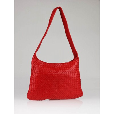 Bottega Veneta Red Woven Veneta Shoulder Bag