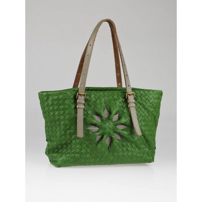 Bottega Veneta Green Woven Leather Marquise Mini Tote Bag