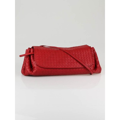Bottega Veneta Red Woven Leather Flap Shoulder Bag