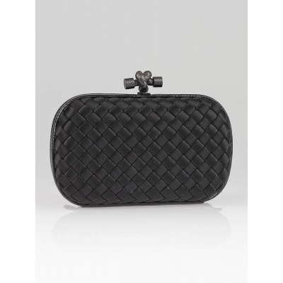 Bottega Veneta Black Satin Karung Knot Clutch Bag