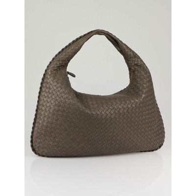 Bottega Veneta Steel Woven Leather Large Veneta Hobo Bag