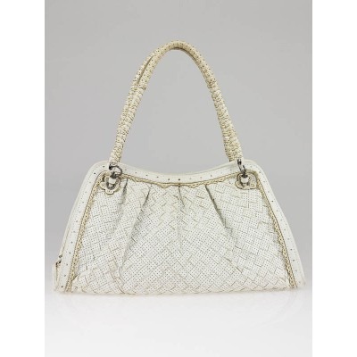Bottega Veneta Ivory Perforated Woven Leather Satchel Bag