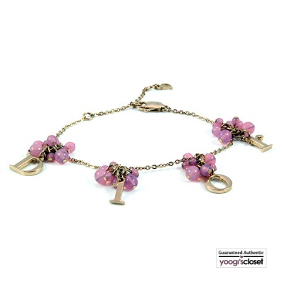 Christian Dior Pink Beaded Letter Dangling Charms Bracelet